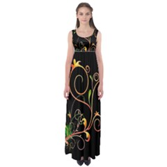 Flowers Neon Color Empire Waist Maxi Dress