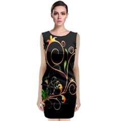 Flowers Neon Color Classic Sleeveless Midi Dress