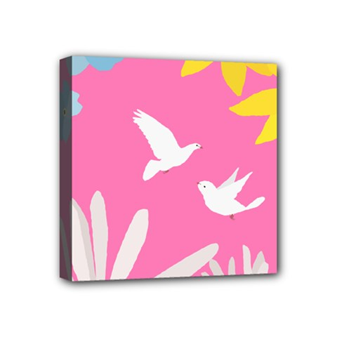 Spring Flower Floral Sunflower Bird Animals White Yellow Pink Blue Mini Canvas 4  x 4