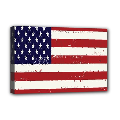 Flag United States United States Of America Stripes Red White Deluxe Canvas 18  X 12