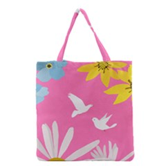 Spring Flower Floral Sunflower Bird Animals White Yellow Pink Blue Grocery Tote Bag