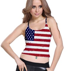 Flag United States United States Of America Stripes Red White Spaghetti Strap Bra Top