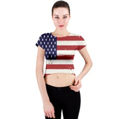 Flag United States United States Of America Stripes Red White Crew Neck Crop Top