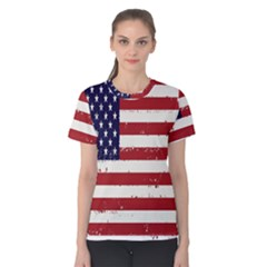 Flag United States United States Of America Stripes Red White Women s Cotton Tee