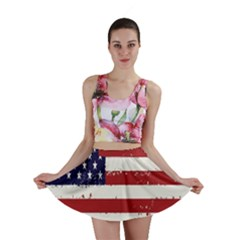 Flag United States United States Of America Stripes Red White Mini Skirt