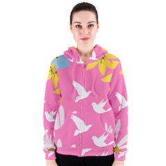 Spring Flower Floral Sunflower Bird Animals White Yellow Pink Blue Women s Zipper Hoodie