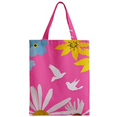 Spring Flower Floral Sunflower Bird Animals White Yellow Pink Blue Zipper Classic Tote Bag
