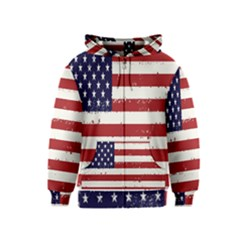 Flag United States United States Of America Stripes Red White Kids  Zipper Hoodie