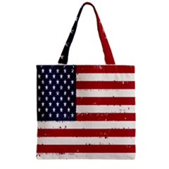 Flag United States United States Of America Stripes Red White Zipper Grocery Tote Bag