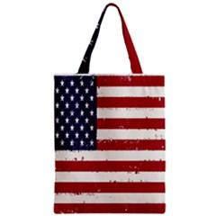 Flag United States United States Of America Stripes Red White Zipper Classic Tote Bag