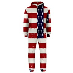 Flag United States United States Of America Stripes Red White Hooded Jumpsuit (men)