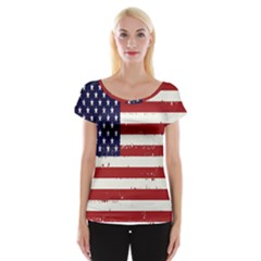 Flag United States United States Of America Stripes Red White Women s Cap Sleeve Top