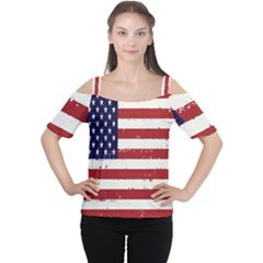 Flag United States United States Of America Stripes Red White Women s Cutout Shoulder Tee