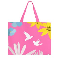 Spring Flower Floral Sunflower Bird Animals White Yellow Pink Blue Large Tote Bag