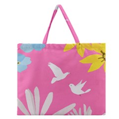 Spring Flower Floral Sunflower Bird Animals White Yellow Pink Blue Zipper Large Tote Bag