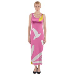 Spring Flower Floral Sunflower Bird Animals White Yellow Pink Blue Fitted Maxi Dress