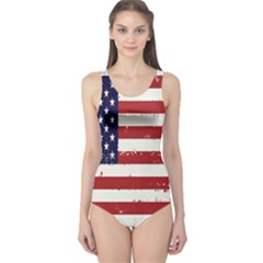 Flag United States United States Of America Stripes Red White One Piece Swimsuit