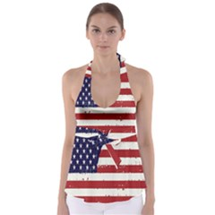 Flag United States United States Of America Stripes Red White Babydoll Tankini Top