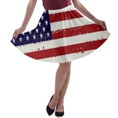 Flag United States United States Of America Stripes Red White A-line Skater Skirt