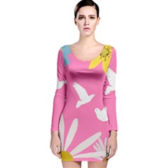 Spring Flower Floral Sunflower Bird Animals White Yellow Pink Blue Long Sleeve Velvet Bodycon Dress