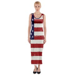 Flag United States United States Of America Stripes Red White Fitted Maxi Dress