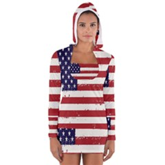 Flag United States United States Of America Stripes Red White Women s Long Sleeve Hooded T Shirt