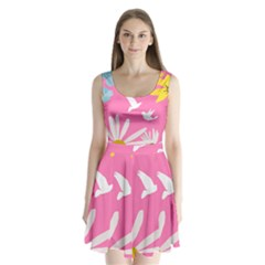 Spring Flower Floral Sunflower Bird Animals White Yellow Pink Blue Split Back Mini Dress