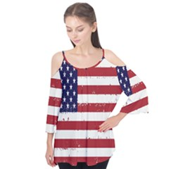 Flag United States United States Of America Stripes Red White Flutter Tees