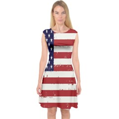 Flag United States United States Of America Stripes Red White Capsleeve Midi Dress
