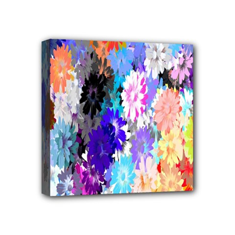 Flowers Colorful Drawing Oil Mini Canvas 4  X 4