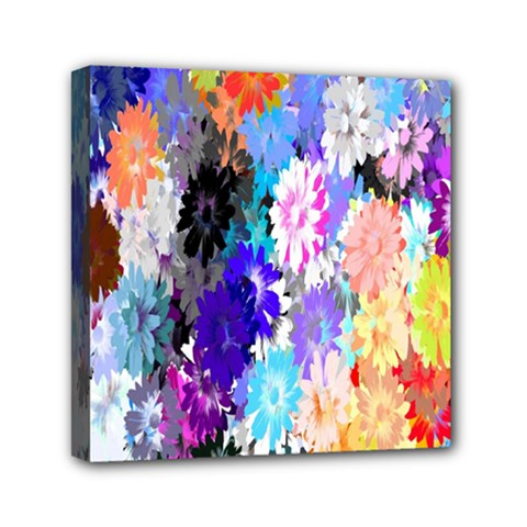 Flowers Colorful Drawing Oil Mini Canvas 6  X 6
