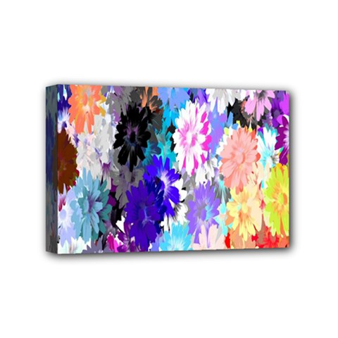Flowers Colorful Drawing Oil Mini Canvas 6  x 4