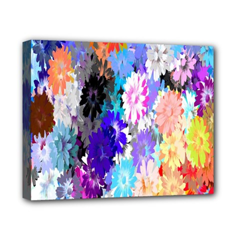 Flowers Colorful Drawing Oil Canvas 10  X 8