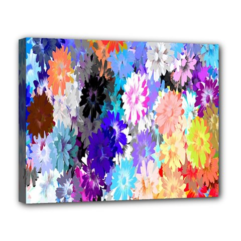 Flowers Colorful Drawing Oil Canvas 14  x 11