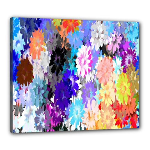 Flowers Colorful Drawing Oil Canvas 24  x 20