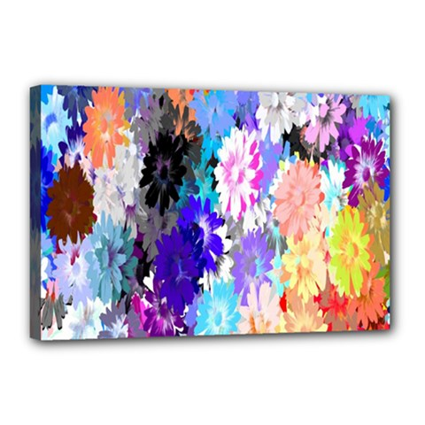 Flowers Colorful Drawing Oil Canvas 18  x 12