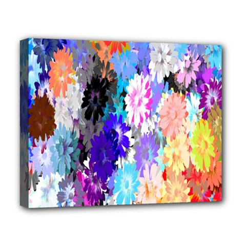 Flowers Colorful Drawing Oil Deluxe Canvas 20  x 16