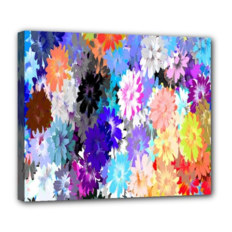 Flowers Colorful Drawing Oil Deluxe Canvas 24  x 20