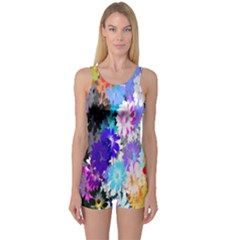 Flowers Colorful Drawing Oil One Piece Boyleg Swimsuit