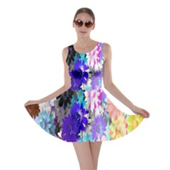 Flowers Colorful Drawing Oil Skater Dress