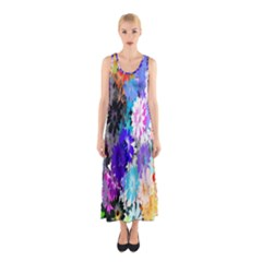 Flowers Colorful Drawing Oil Sleeveless Maxi Dress