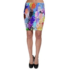 Flowers Colorful Drawing Oil Bodycon Skirt
