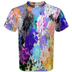 Flowers Colorful Drawing Oil Men s Cotton Tee