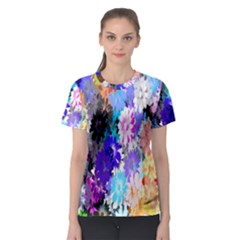 Flowers Colorful Drawing Oil Women s Sport Mesh Tee