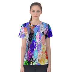 Flowers Colorful Drawing Oil Women s Cotton Tee