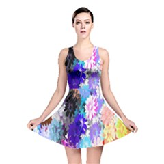 Flowers Colorful Drawing Oil Reversible Skater Dress