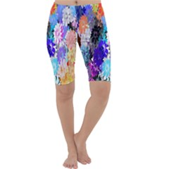 Flowers Colorful Drawing Oil Cropped Leggings
