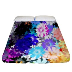 Flowers Colorful Drawing Oil Fitted Sheet (king Size)