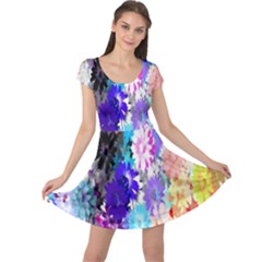 Flowers Colorful Drawing Oil Cap Sleeve Dresses
