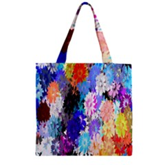 Flowers Colorful Drawing Oil Zipper Grocery Tote Bag